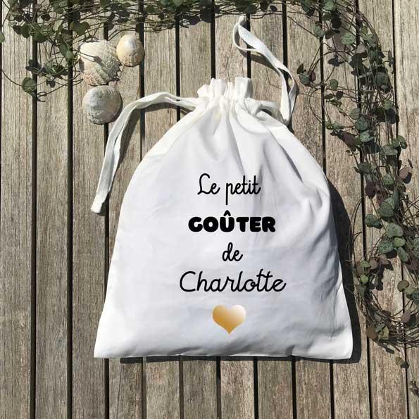 Pochon le petit goûter de Charlotte cœur or