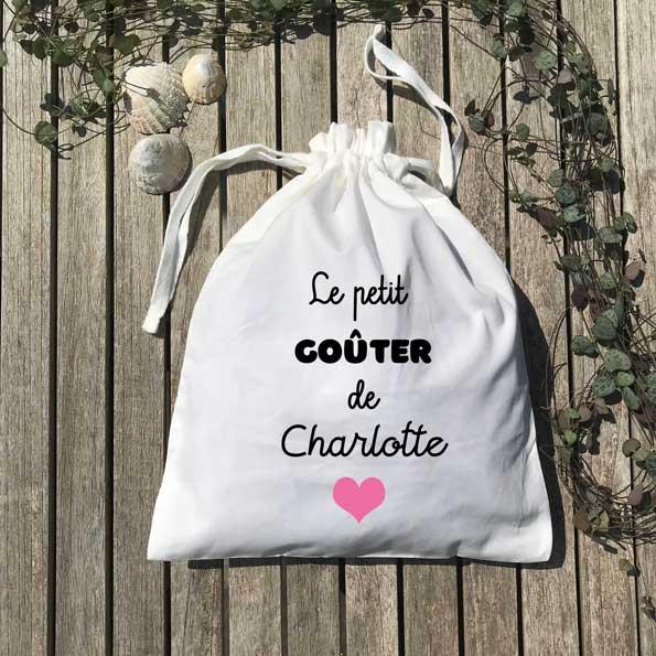 Pochon le petit goûter de Charlotte cœur rose
