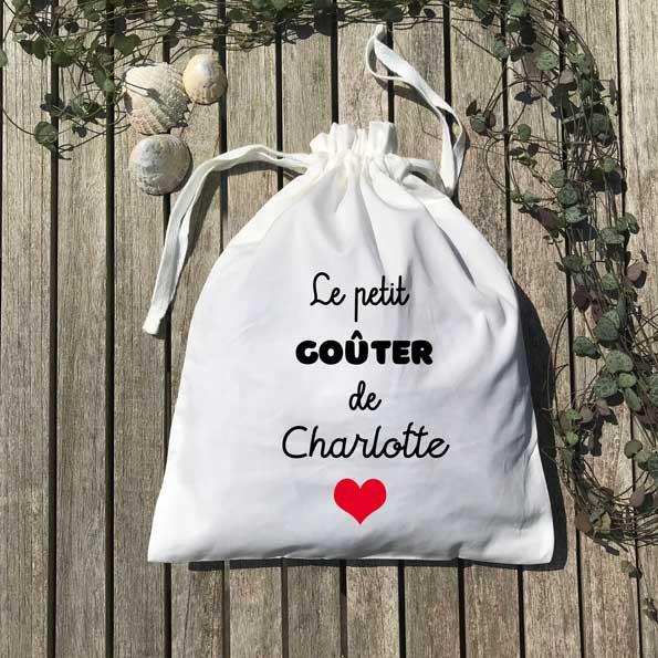 Pochon le petit goûter de Charlotte cœur rouge