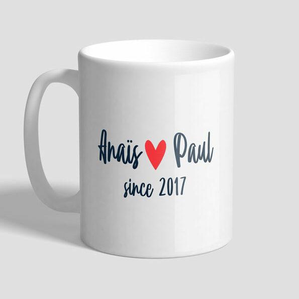 Mug modèle Anais et Paul