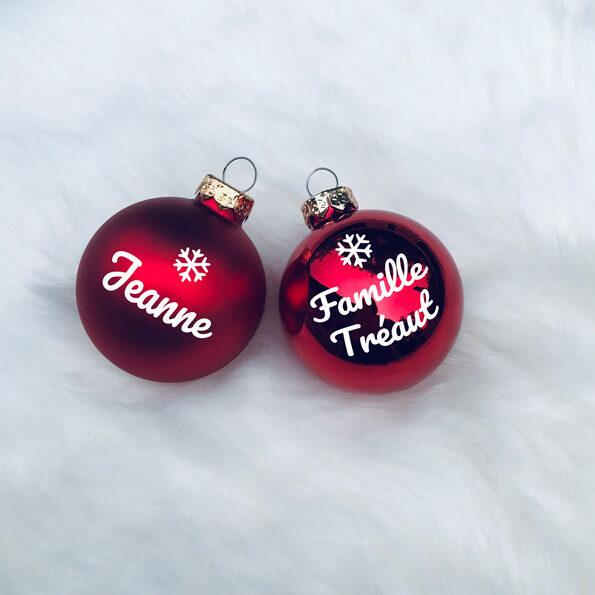Boule de Noël tons rouge